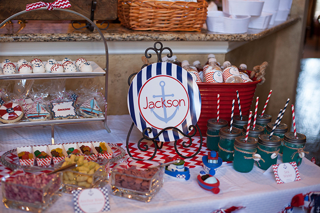 Nautical theme birthday party - DIY printable buffet cards from Chickabug