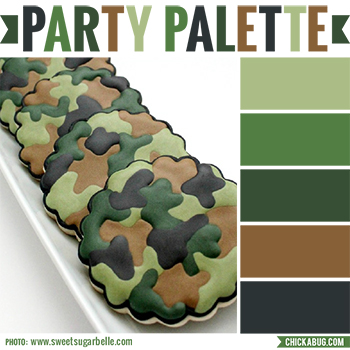 Party palette: Color inspiration in camo colors #colorpalette