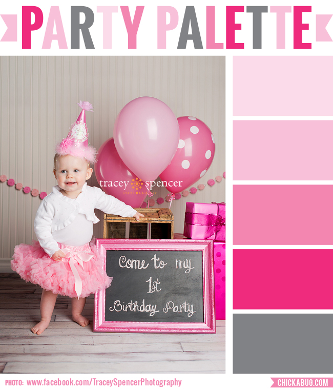 "Party palette: ""Pretty in Pink"" color inspiration in pinks and silver grey #colorpalette"