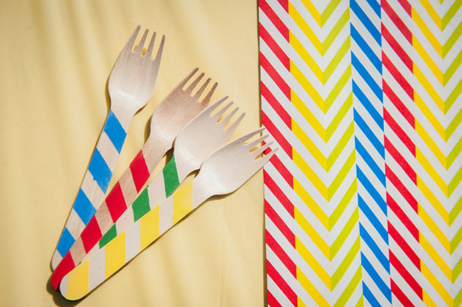 Pop art theme birthday party - striped rainbow wooden cutlery