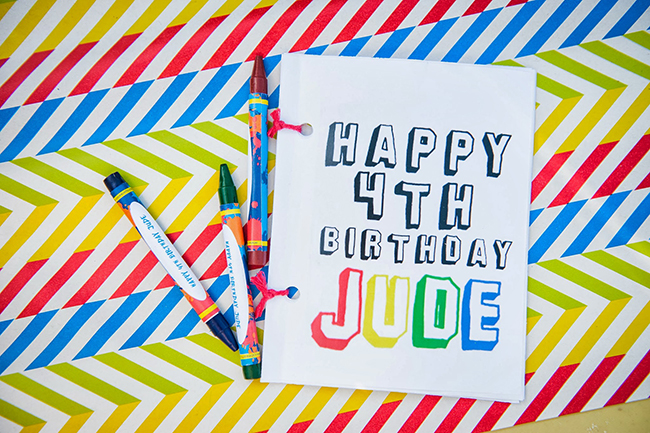 Pop art theme birthday party  - personalized crayon party favors