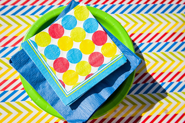 Pop art theme birthday party - matching napkins, plates and tablecloth