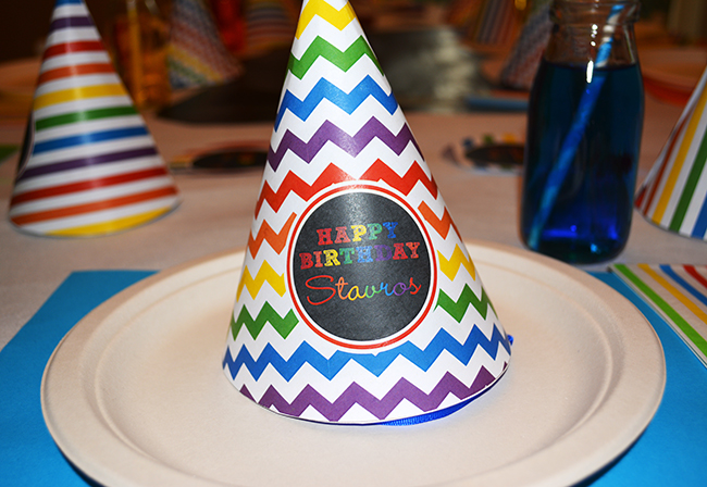 Chalkboard rainbow theme birthday party - Printable hat from Chickabug.com