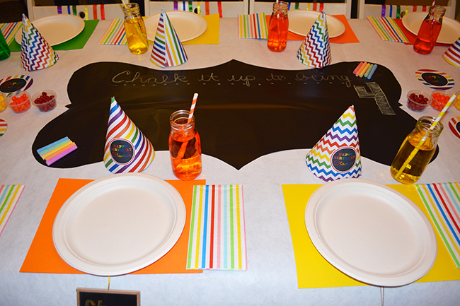 Chalkboard rainbow theme birthday party - Printable hats from Chickabug.com