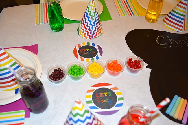 Chalkboard rainbow theme birthday party - Printables from Chickabug.com