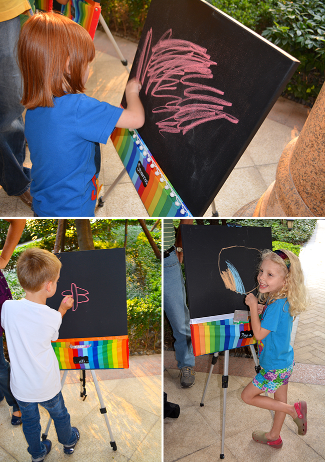 Chalkboard rainbow theme birthday party - DIY chalkboard canvases (tutorial at chickabug.com)