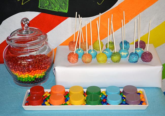 Chalkboard rainbow theme birthday party