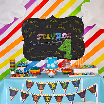 Chalkboard rainbow birthday party! Printables from Chickabug.com