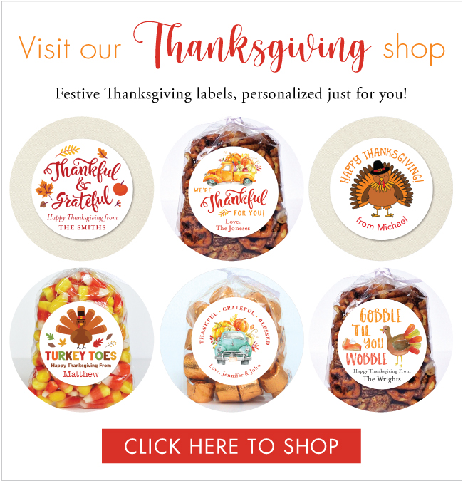 Thanksgiving stickers, candy bags and more at Chickabug.com