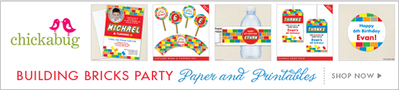 Chickabug building bricks theme paper goods & printables - to go with any LEGO® theme party!