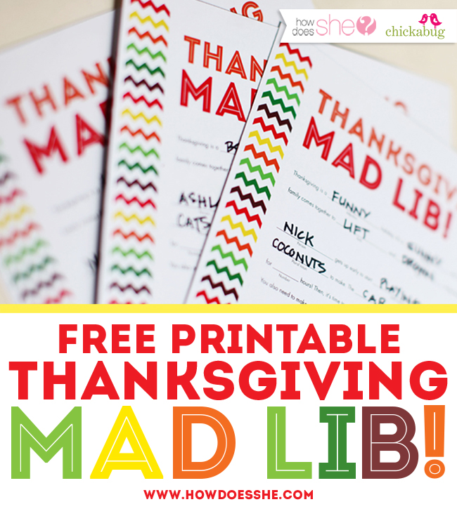 image regarding Thanksgiving Mad Libs Printable named No cost printable Thanksgiving ridiculous lib! Chickabug