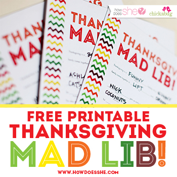 Free printable Mad Lib for Thanksgiving!