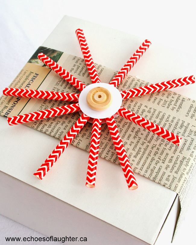 Easy DIY paper straw snowflakes. Perfect for a gift topper, as an ornament, or grouped together on a wall!