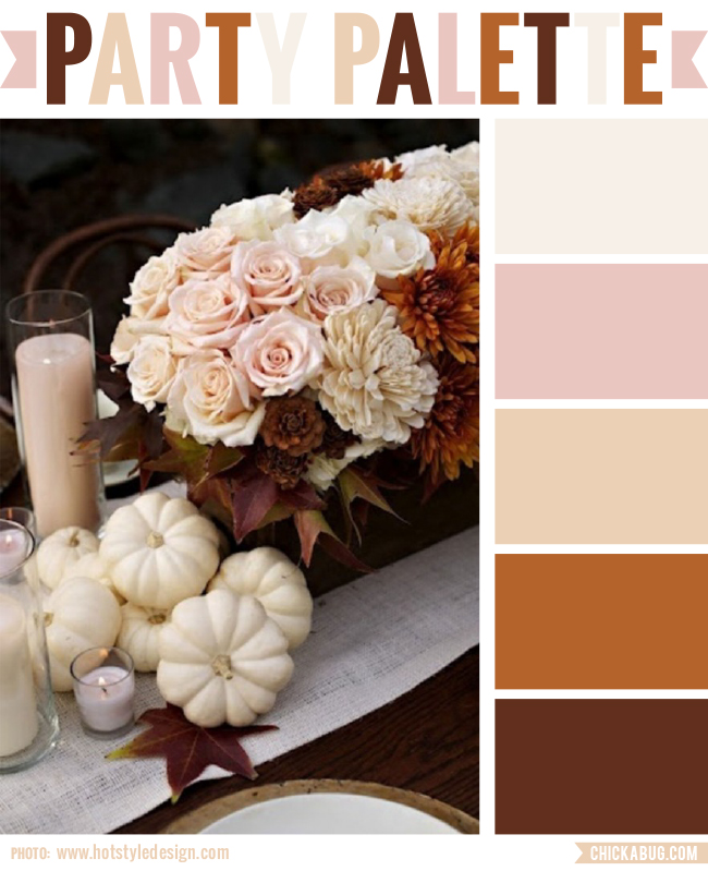 Party palette: A neutral Thanksgiving table in cream, blushes, and browns #colorpalette