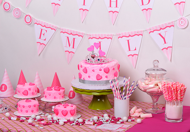 Pretty princess party table - Cake by EllaVanillaCakeKits.com, printables from Chickabug.com