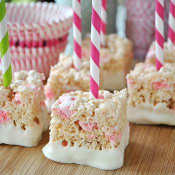 Peppermint Rice Krispies treats on a stick