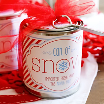 Free printable can of snow (and recipe for faux snow) - a wonderful and thrifty holiday gift!
