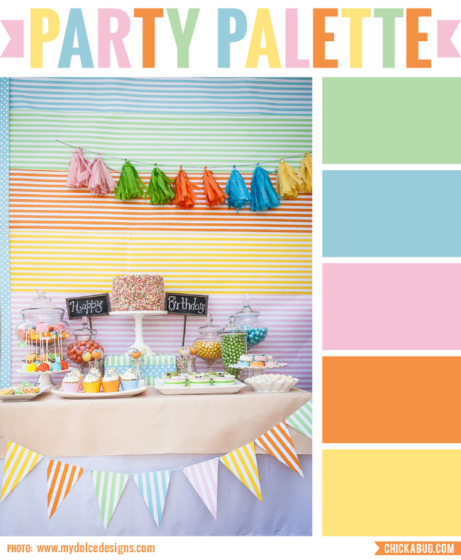 "Party palette: Color inspiration for a ""tutti fruity"" party #colorpalette"