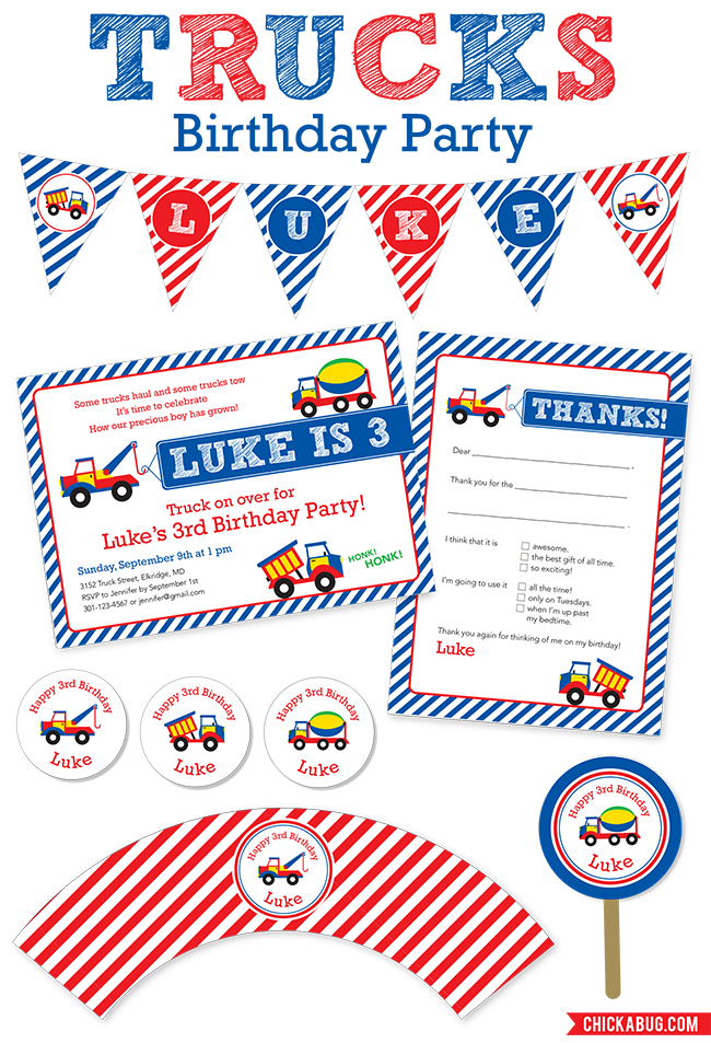 Trucks theme birthday party - paper goods and printables from Chickabug.com