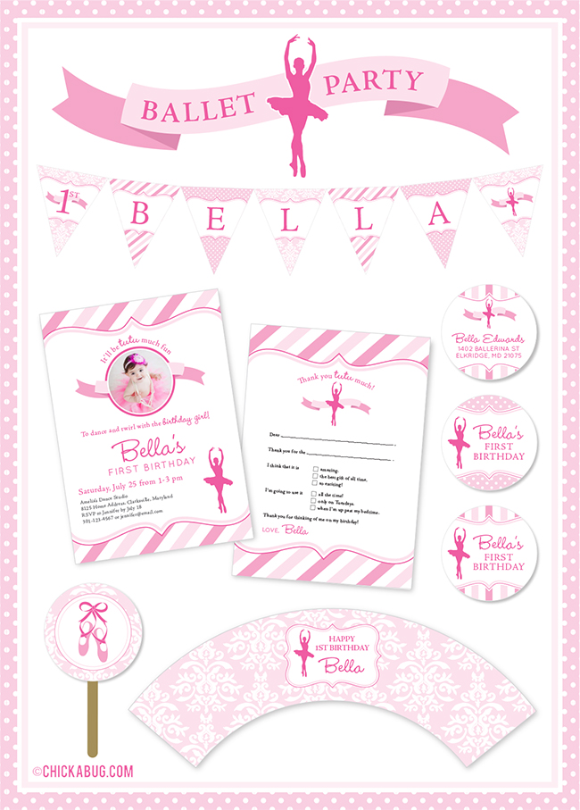 Ballet theme birthday party invitations, water labels, stickers, and DIY party printables from Chickabug.com - SUPER sweet!