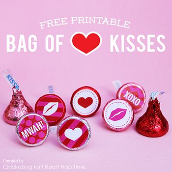 "Free printable ""Bag of Kisses"" for Valentine's Day"