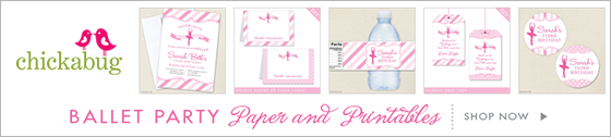 Ballet theme party paper goods and printables from Chickabug - www.chickabug.com