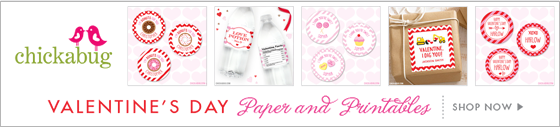 Valentine's Day paper goods & printables from Chickabug