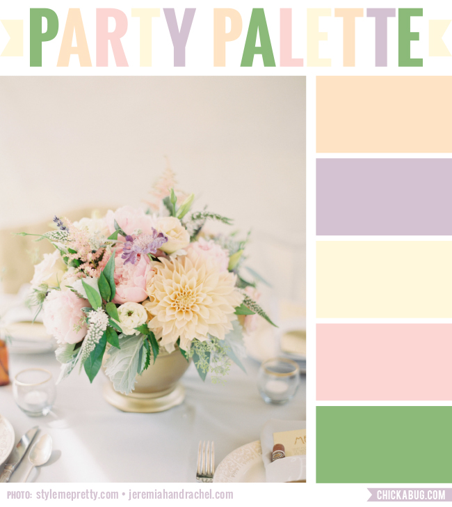 Party Palette: Color inspiration in soft tones of peach, lavender, mint, pink, and green #colorpalette