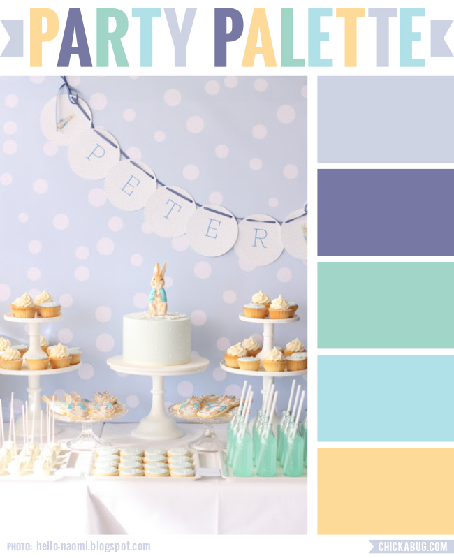 Party Palette: Color inspiration taken from a soft pastel Peter Rabbit party #colorpalette