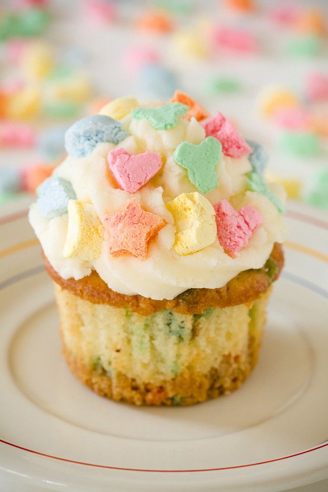 Lucky Charms cupcakes for St. Patrick's Day - there are Lucky Charms in the cupcake batter!