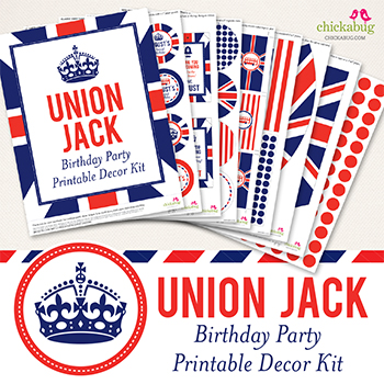Union Jack birthday party printable decor kit - Over 45 pages of fun printables from Chickabug