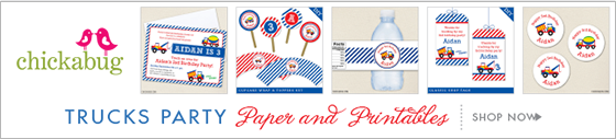 Chickabug truck theme paper goods & printables