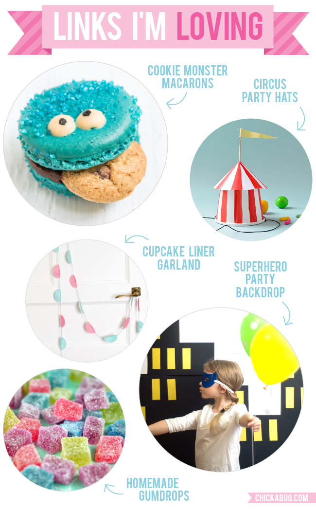 Links I'm Loving: Cookie Monster macarons, DIY circus party hats, and more!
