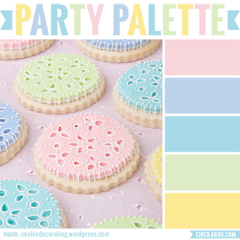 Party Palette: Pastel eyelet cookies in soft springtime tones #colorpalette