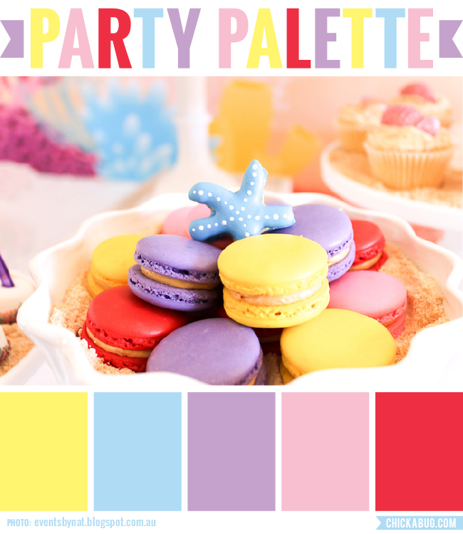 Party Palette: Bright and girly color inspiration taken from a mermaid party #colorpalette