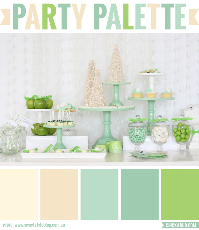 Party Palette: Fresh green and cream party table #colorpalette