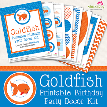 Goldfish birthday party printable decor kit - Over 45 pages of fun printables from Chickabug