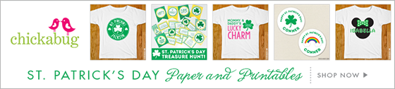 Personalized St. Patrick's Day  goodies (stickers, printables, shirt designs and more) from Chickabug!