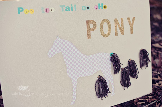 Gorgeous rustic equestrian theme birthday party - pin the tail on the pony