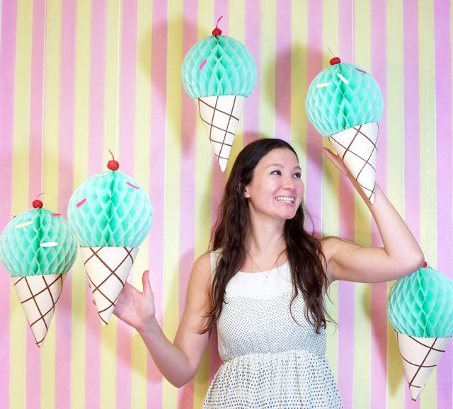 DIY ice cream cone party backdrop