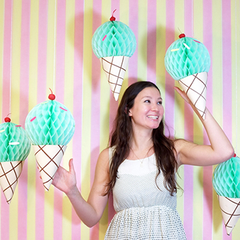 DIY ice cream cone party backdrop