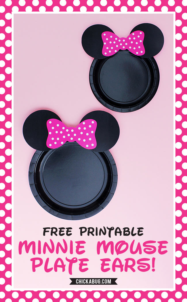 graphic relating to Minnie Mouse Printable named Cost-free printable Minnie Mouse ears for plates - sizzling purple, little one