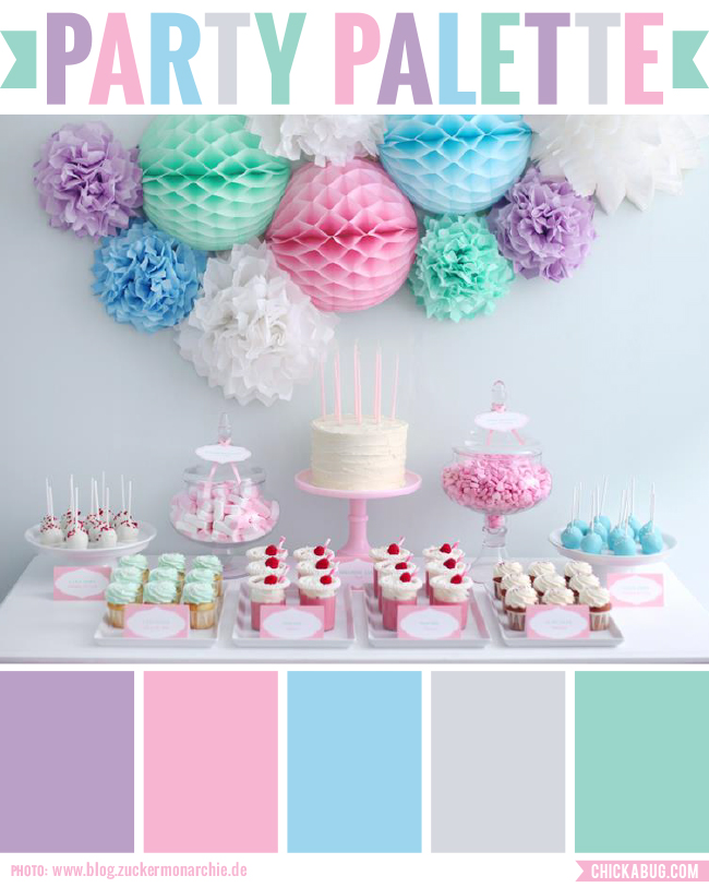 Party Palette: Candy colored party table | Chickabug
