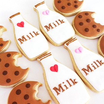 Milk and cookies COOKIES! So cute. By sunshinebakes.etsy.com