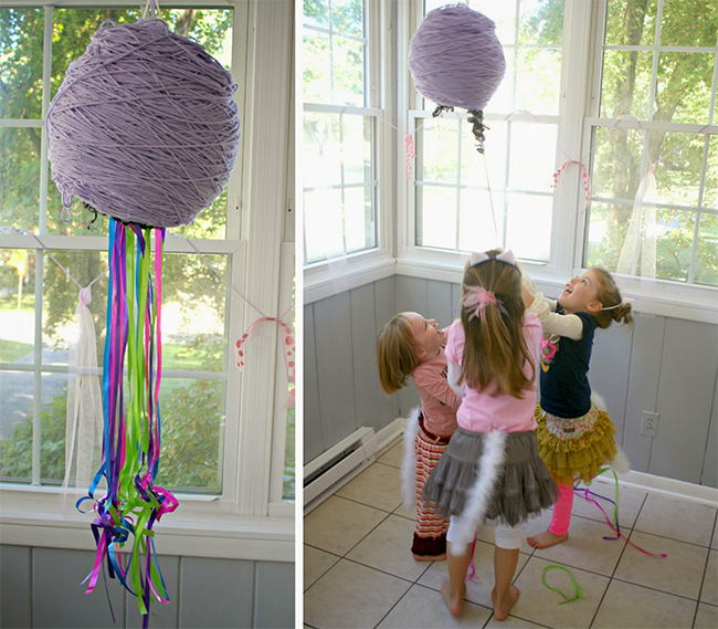 Cat theme birthday party - yarn ball pinata