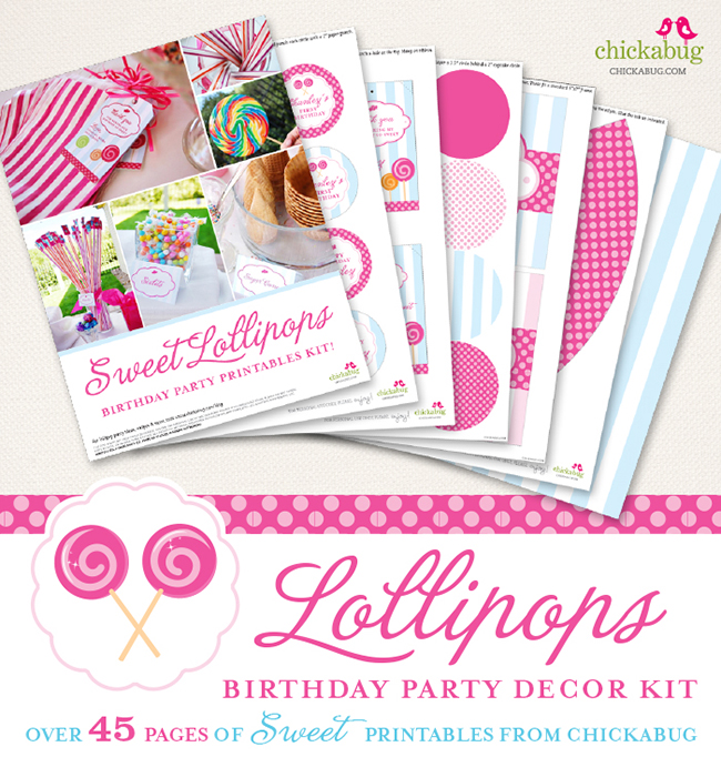 Lollipop birthday party printable decor kit - Over 45 pages of sweet printables from Chickabug