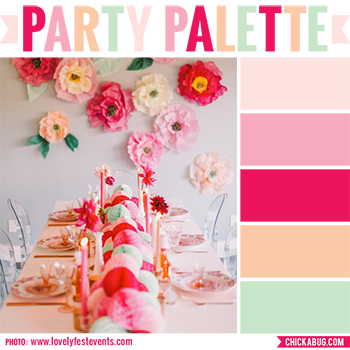 Party Palette: Color inspiration in blush, pink, dark pink, peach and mint #colorpalette