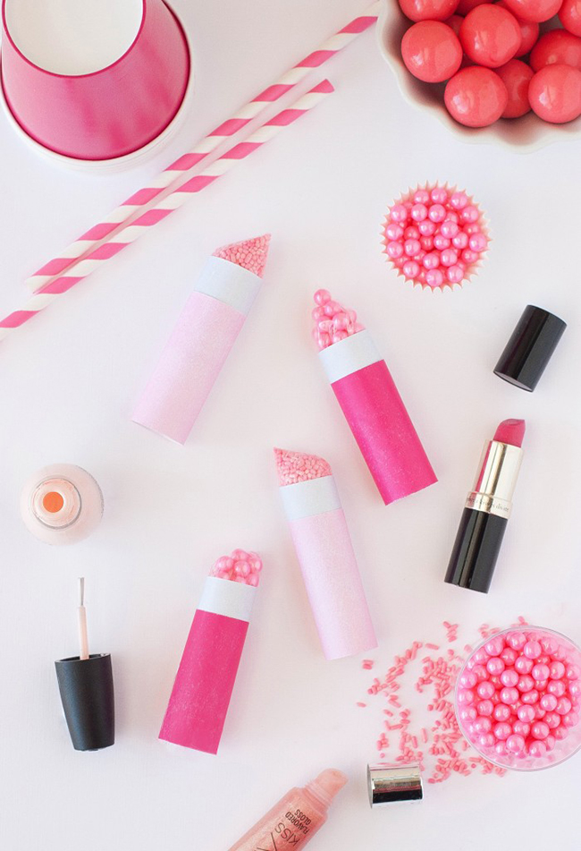 Sprinkle lipstick party favors by Design Eat Repeat for Best Friends for Frosting