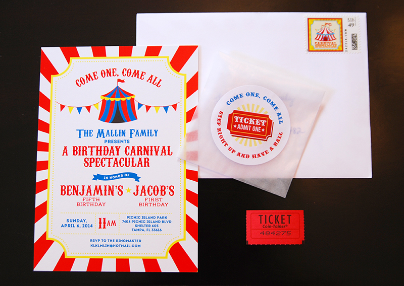 Carnival theme birthday party invitations and stickers from Chickabug