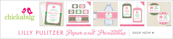 Lilly Pulitzer inspired paper goods and printables from Chickabug